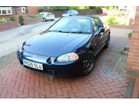 """'97 CRX (Del Sol), includes S2000 seats, JDM cupholders, iPod supported stereo, 15"""" alloys"""