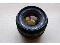 Canon FD 50mm 1:1.8 Manual Camera Lens