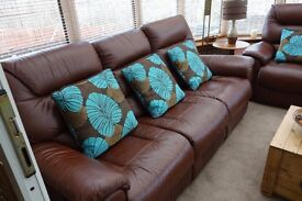 Brown Leather Lazy Boy Electric 3 Seater Sofa and Armchair