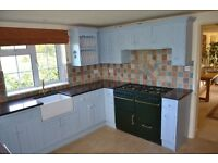 Solid solid pine painted kitchen units & granite worktop separate ads for belfast sink & oven range