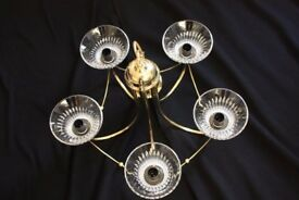 Chandalier Five light Brass fitting with glass crystal type shades. Excellent condition