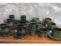Vintage Portmerrion Totem Tea Set 25 Pieces Coffee Service Portmeirion Green Retro Unusual