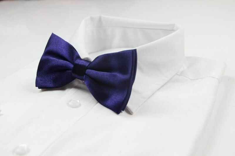 Mens Dark Purple Bow Tie Pre-tied Wedding Formal Classic Fashion Accessory