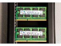 Laptop RAM: M471B5673FH0-CF8 (pair of chips), Samsung DDR3 SDRAM, 2x2GB (4GB pair), 1066MHz