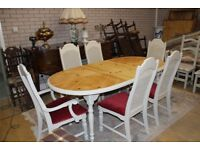 shabby chic extending 7ft table and six chairs