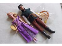 Disney Princess Tangled RAPUNZEL + FLYNN RIDER Dolls + hair accessories + ACTIVITY / STORYBOOK