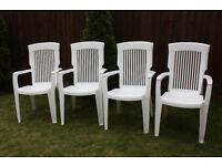 4x white plastic garden chairs