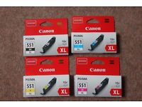 CANON INK CARTRIDGES BRAND NEW UNOPENED BOXES HIGH CAPACITY INK PIXMA 551 COST £12 EACH.