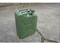 Jerry can- 25 litre steel construction in as new condition. Used for petrol storage only.