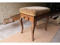 Antique/Vintage Piano stool with hinged lift up seat.
