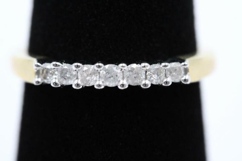 BEAUTIFUL 10K SOLID GOLD 7 AUTHENTIC FULL CUT APROX 1/3CTW DIAMONDS SIZE 7 BAND