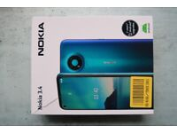 Nokia 3.4 Android Smart Phone. Unlocked Dual SIM. SD card slot. Blue. New Unused. Blue. Boxed.