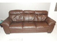 LEATHER SUITE BROWN 3 AND 2 SEATER GREAT CONDITION