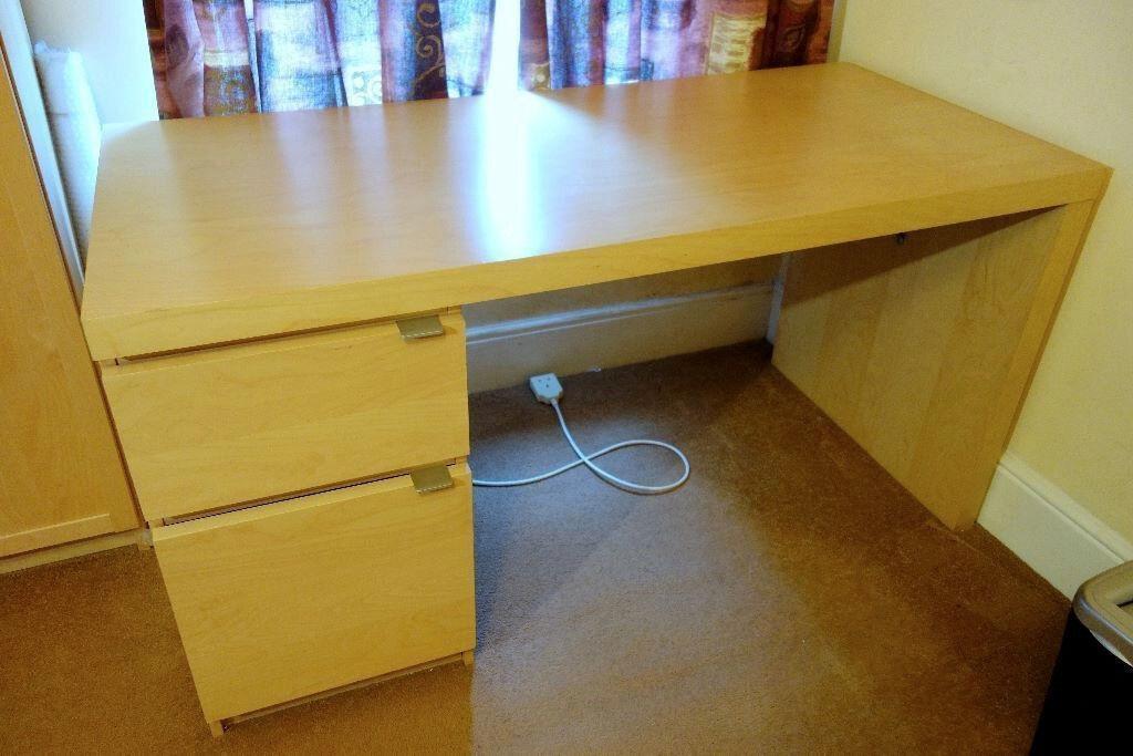 Large ikea jonas desk table integrated drawer and door storage