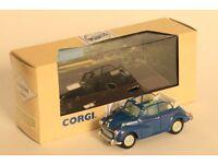 Corgi Classics dark blue Morris Minor Convertible die cast model car, 1:43 scale