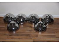 4 new +2 ex display silver large galley pendant lamp shades