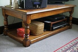 Large low wood TV table