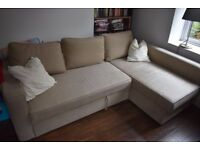 Very comfortable corner sofa-bed with storage