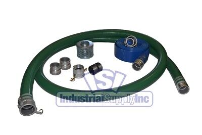 2 Green Pvc Suction Hose Trash Pump Camlock Kit W100 Discharge Hose Fs