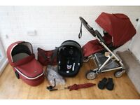 Mamas and Papas Urbo 2 Rust Tweed (red) pram pushchair + car seat 3 in 1 **can post***