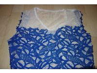 White and blue formal dress. Size 8. Only £3!