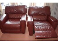Reclining Leather 2 chairs and sofa in excellent condition