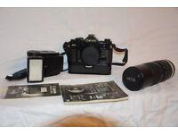 Canon A1 35mm SLR film camera + Lens + Flash+ original boxes – recently serviced locally