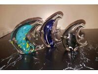 3 glass Murano fish ornaments