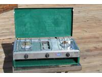 Gelert camping stove with double burner, grill and 7kg butane cylinder
