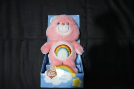"""RARE 1980s Care Bear """"Cheer Bear"""" plush cuddly toy in packaging as new. 20 year anniversary edition."""