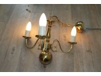THREE VINTAGE 3 ARM FRENCH BRASS CHANDELIERS CEILING LIGHTS