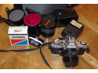 Canon AE1 35mm SLR Film Camera with FD 50mm Kit lens , Flash, Tamron 35-70mm lens