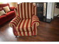 Lovely immaculate Laura Ashley style Queen Ann - regency stripe armchair sofa