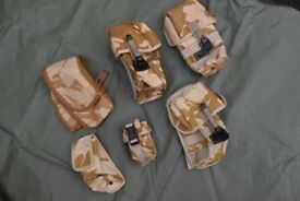 Joblot of 5 British Army Desert Issue Pouches (Molle Modular)