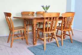 DELIVERY OPTIONS - FARMHOUSE PINE EXTENDABLE TABLE & 6 PINE CHAIRS