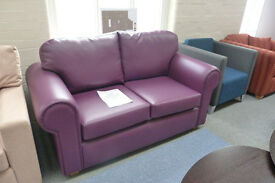 Purple Leather Two Seater Sofa
