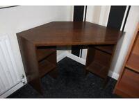 corner office desk with 4 shelves