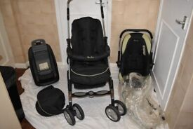 Silver Cross 3D Travel System In Black & Pistachio- Pushchair, Car Seat & Isofix