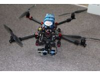 Carbon Fibre FoldableQuadracopter Drone with GPS and with GoPro camera.