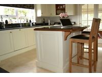 Painted 'Cotton White' Oak Kitchen and Granite Worktops for Sale