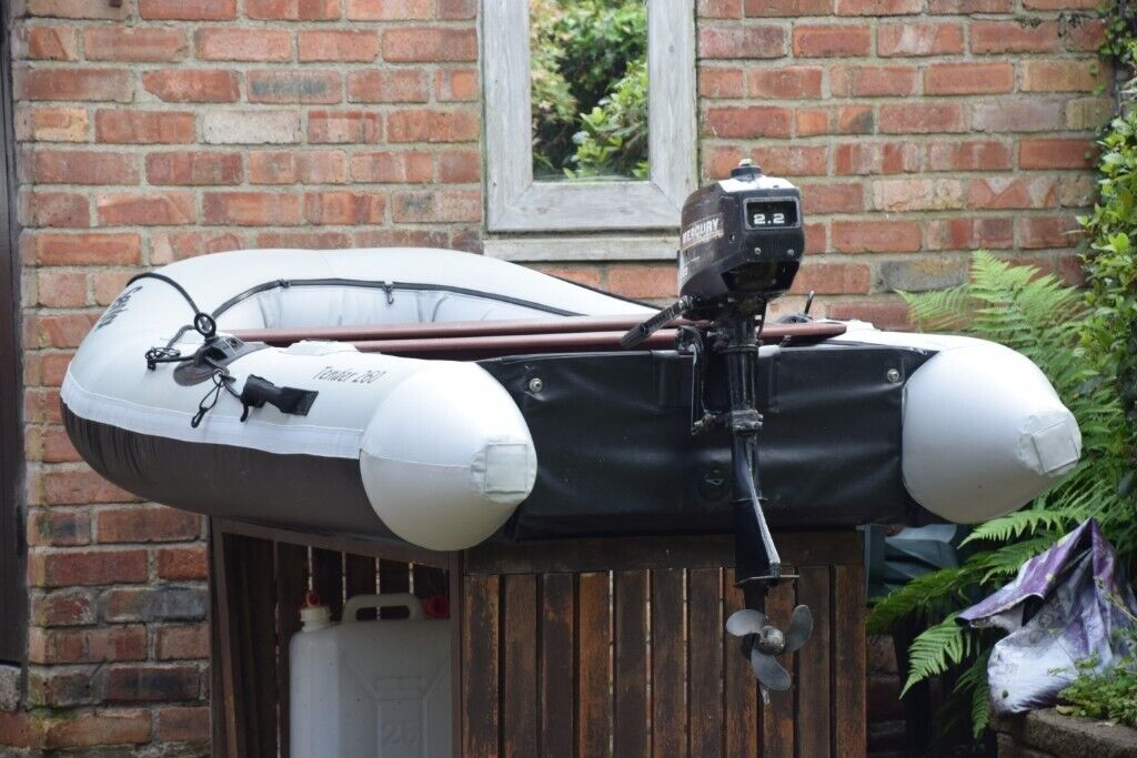 Sevylor Tender 260 Boat c/w 2 engines  Mercury 2 2hp petrol outboard +  Yamaha MT12 E-Drive 12V motor | in Stockton Heath, Cheshire | Gumtree