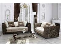 14 DAYS MONEY BACK GUARANTEE* Dylan CRUSH VELVET 3+2 Seater Sofa Set - Brand New - Same Day Delivery
