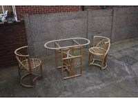 Glass Wicker Table and Chairs Set