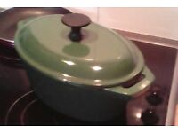 Cast Iron cooking pot, La Crueset style, enamel coated interior, green outer