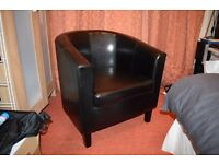 Black PU Leather Tub Chair