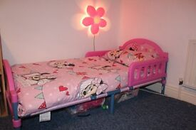 Mini Mouse Toddler Bed and Mattress in Pink with matching Book Case