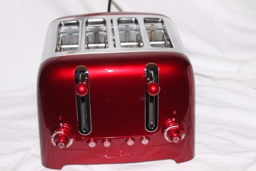 Boxed Dualit Lite 4 Slot Lite Toaster in Metallic Red bined