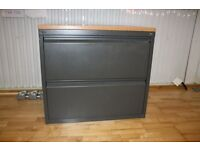 Roomy Cabinet office Storage Drawers Metal and wood very good condition Tan Beach Grey