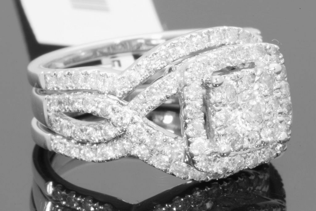 10K WHITE GOLD 2 CARAT WOMENS DIAMOND ENGAGEMENT RING WEDDING BAND BRIDAL SET