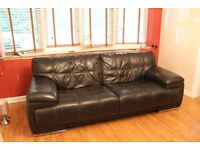 3+2 seater brown leather suite with matching storage pouffe
